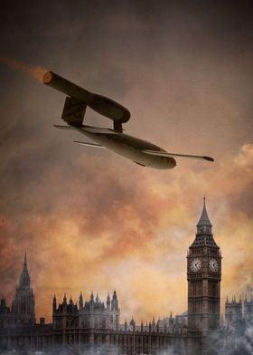 A v1 flying bomb over the houses of parliament in Londo ...