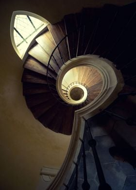 Spiral staircase in the old tower