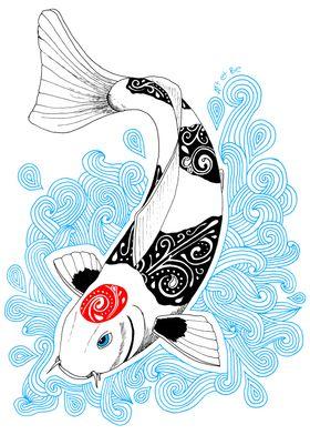 Koi tancho doodle