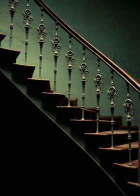 Old staircase with ornamented stairs