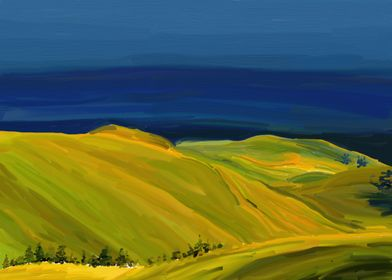 Yellow Hills. This original painting is inspired by Ser ...