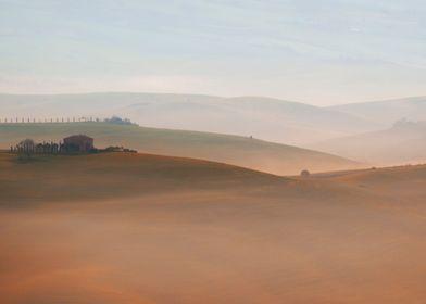 Morning foggy Toscany impression