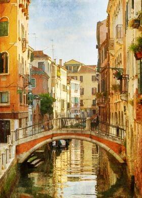 Burnt Orange Red Bridge Over Venetian Canal