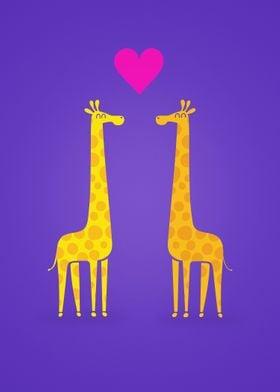 Cute cartoon giraffe couple in Love (Purple Edition)
