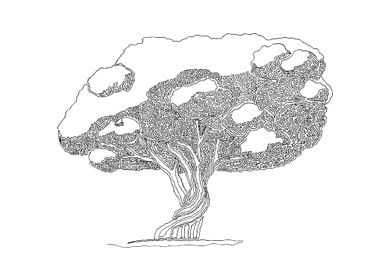 Tree 05. Drawing with one line. The line starts on the ...