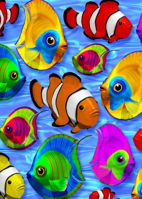 3d Tropical Fishes on Clear Crystal Water