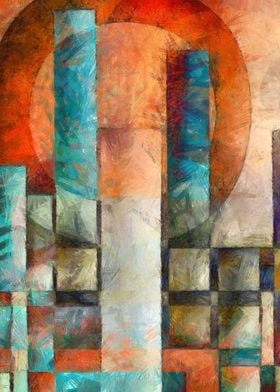 Cityscape abstract painting by Edward M. Fielding