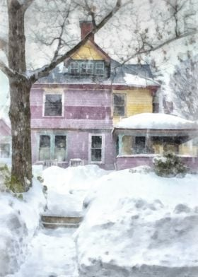 Painted Lady Snowstorm.  A colorful Victorian house in  ...