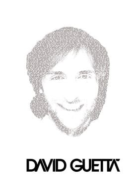 David Guetta! The portrait consist of the lyrics of the ...
