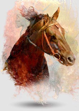 Horse through Water Color
