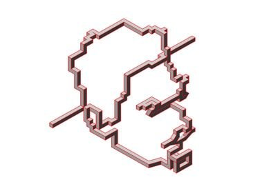 Escher Red. One Line Isometric Drawing