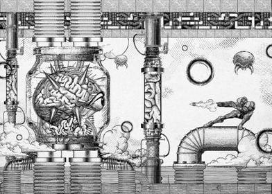 A vintage engraved digital illustration/composition I m ...