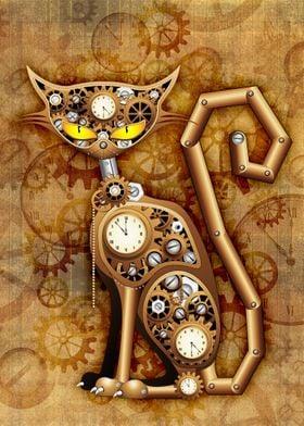 Steampunk Cat Vintage Copper Toy
