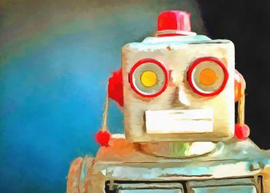 Vintage Robot Toy Pop Art by Edward M. Fielding