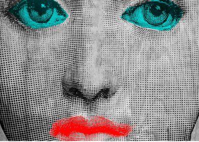 Vintage face pop art by Edward M. Fielding