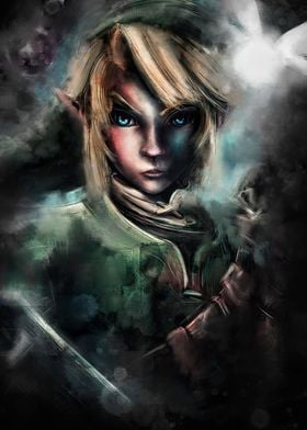 Link as an emotional, epic painted portrait focusing on ...