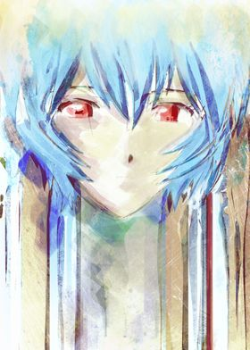 Rei Ayanami watercolor portrait inspired by the anime/m ...