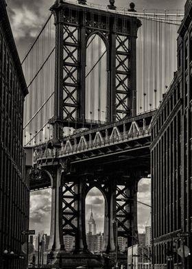 The Manhattan bridge from Washington and Water streets  ...