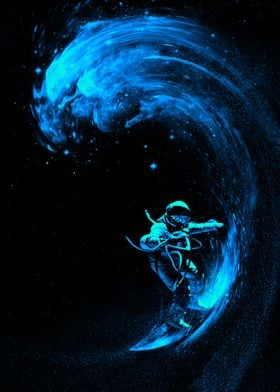 Space Surfing Blue Wave