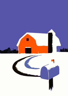 Winter comes to the farm - classic poster style graphic ...