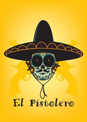 El Pistolero.Mexican sugar skull