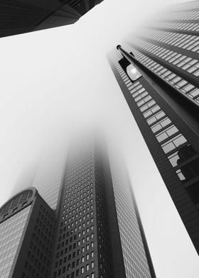Black and White photo of downtown Dallas on a Foggy mor ...
