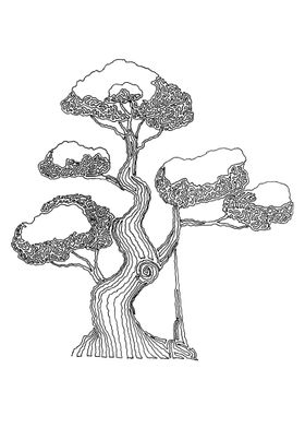 Bonsai 2- Drawn with one continuous line. The line begi ...
