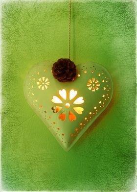Heart Lighting up a Green Wall
