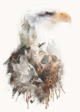 A surreal double exposure styled mixed media digital pi ...