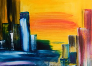 The original painting is called City Sunrise, acrylic o ...