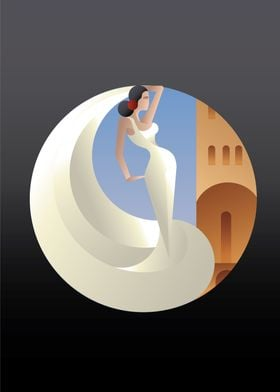 Art Deco styled Spain Flamenco dancer. Young woman flam ...