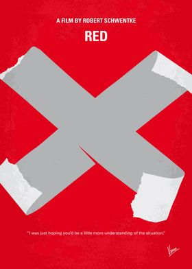 No495 My RED minimal movie poster When his peaceful li ...