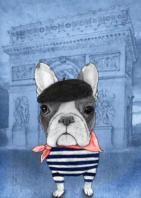 Frenchie With Arc De Triomphe (version2)