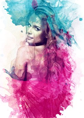 A watercolor digital painting collage of a sexy beautif ...