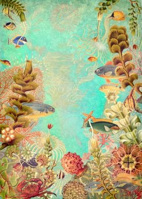 Tropical Caribbean Blue Collage