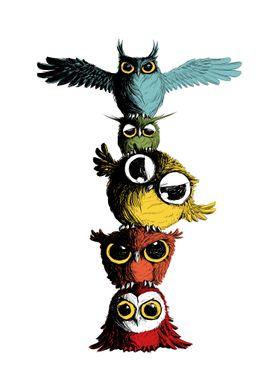 Totem pole of Owls