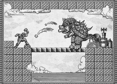 A vintage 2-D engraving style retro gaming art based on ...