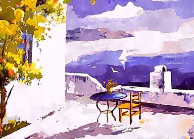 Greek Island Watercolour
