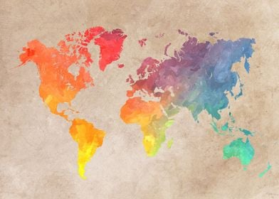 Map of the world - watercolor and digital art