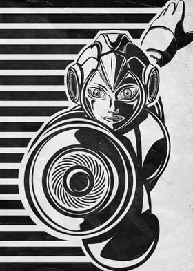 A vintage black and white Megaman inspired illustration ...