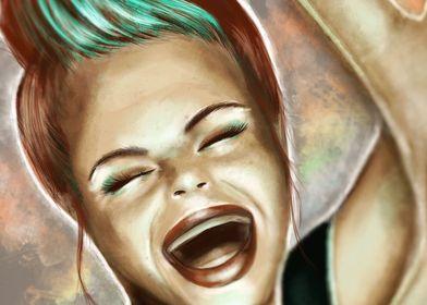 Happy Artist Girl Digital Painting