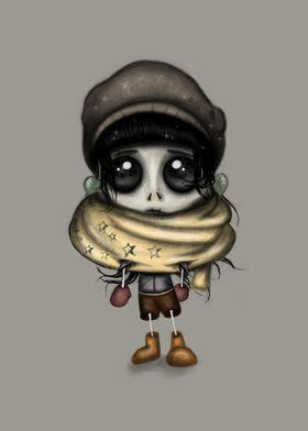 Sweet Skeleton Girl Digital Painting