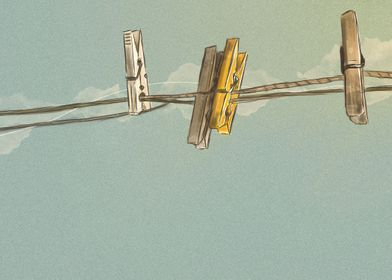 Vintage Clothespin - Digital Painting