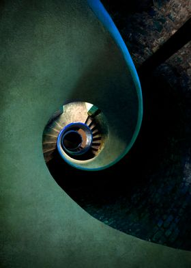 Spiral staircase in blue and green