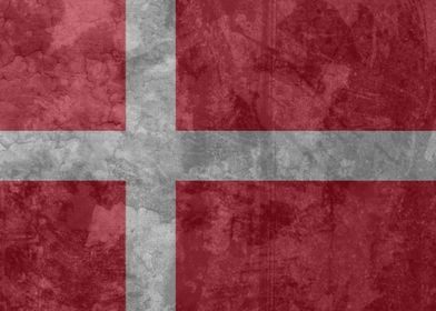 The flag of Denmark presented with a vintage look