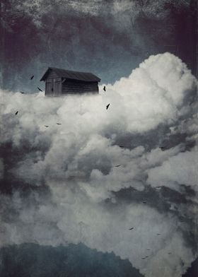 Surreal cloudscape with birds