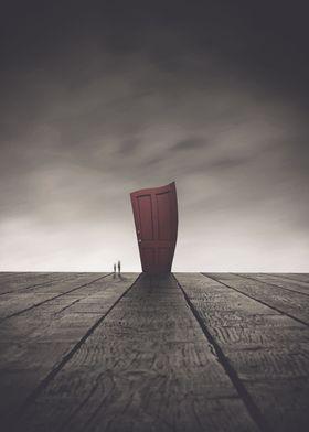 The secret of the red door_displate