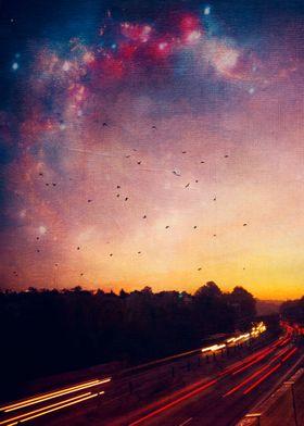 Dreamy Highway - busy autubahn at sunrise