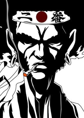 Smoking Afro.Fanart from Afro Samurai. Based on the Ani ...