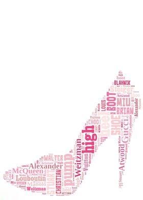High fashion luxury shoe terms in a high heel shaped wo ...
